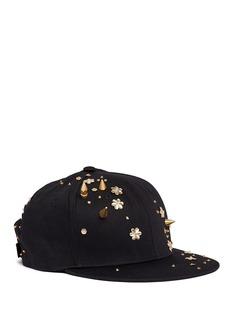 Piers Atkinson Spike stud floral sequin twill baseball cap