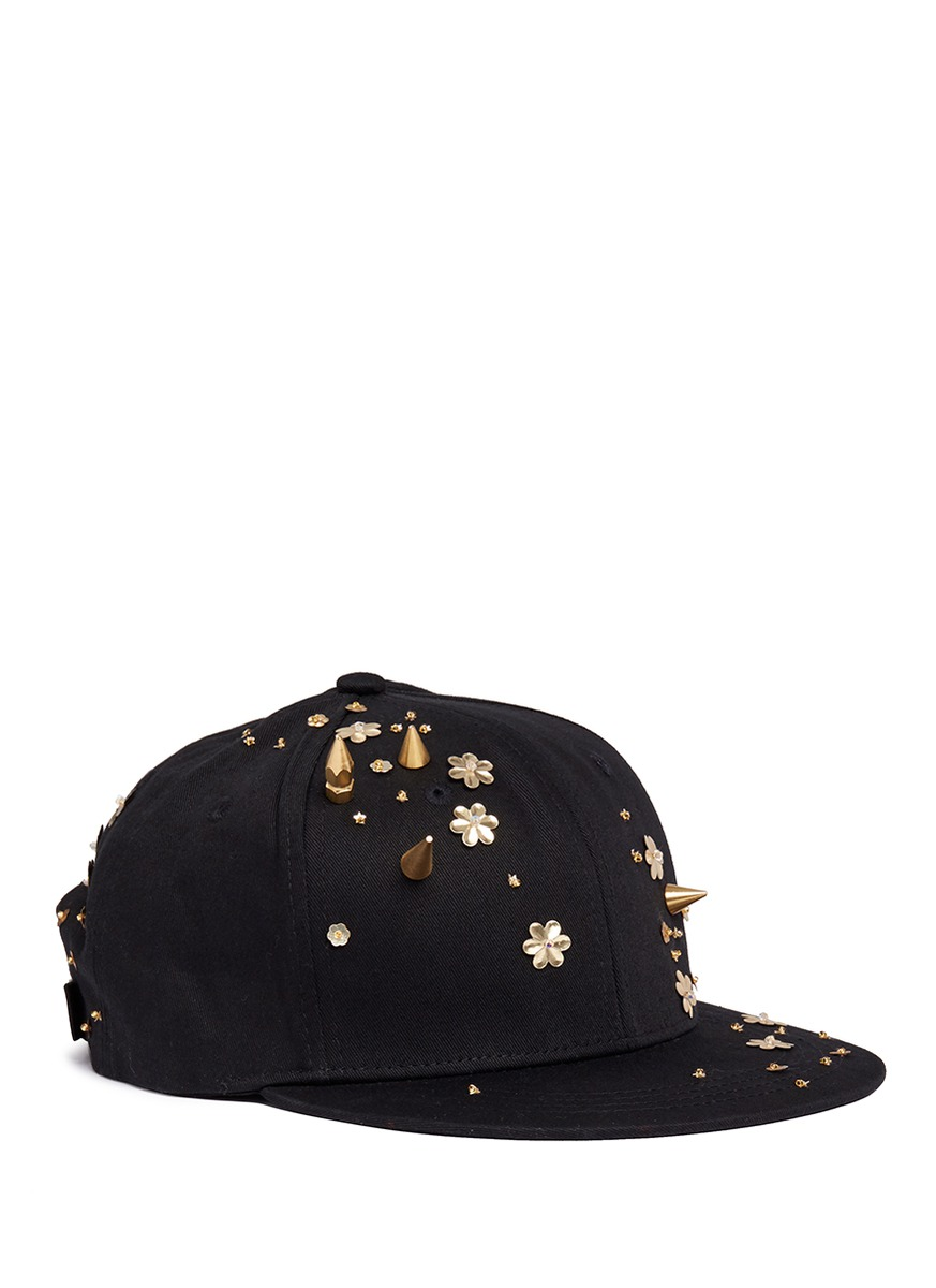 Spike stud floral sequin twill baseball cap by Piers Atkinson