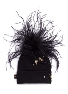 Piers Atkinson Ostrich feather Swarovski crystal floral sequin beanie