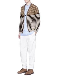 CamoshitaFair Isle stripe cotton cardigan