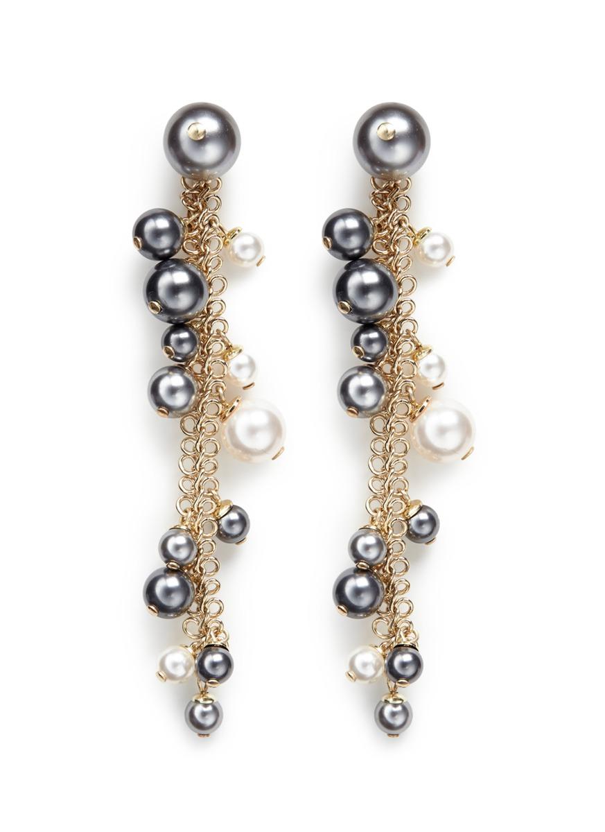 Perles Swarovski crystal chain drop earrings by Lanvin