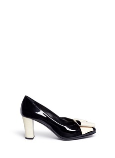 Lanvin Contrast bow patent leather pumps