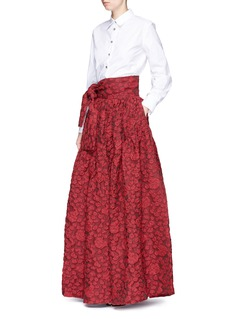 JourdenStripe floral cloqué maxi skirt