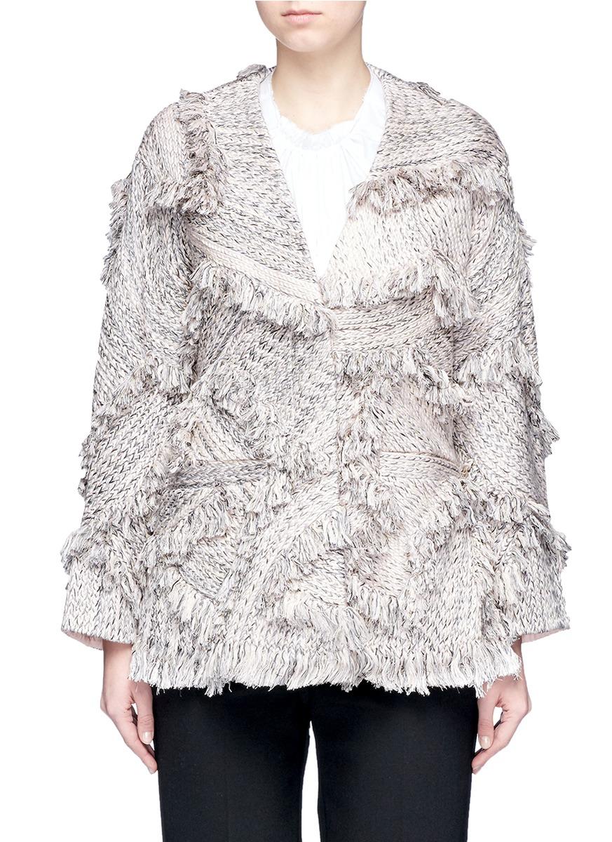 Braid frayed trim coat by Xu Zhi