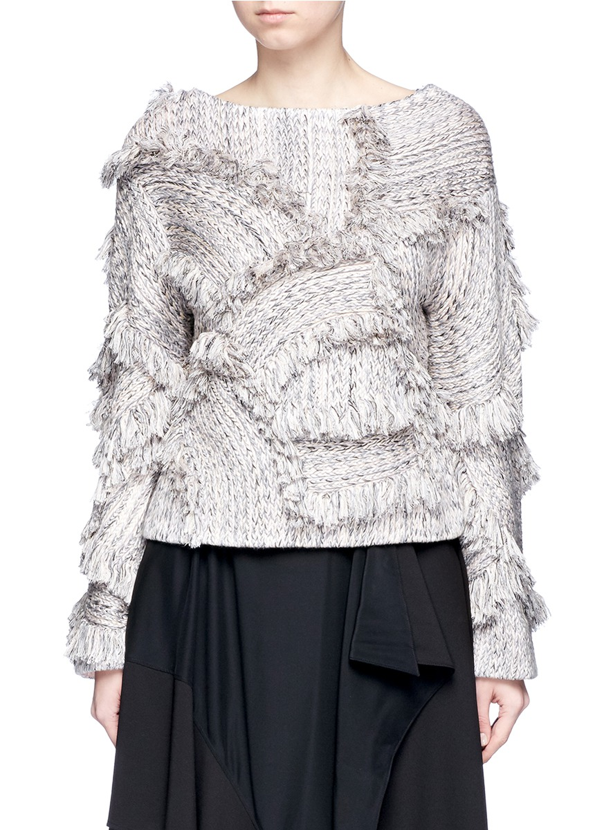 Braid frayed trim sweater by Xu Zhi
