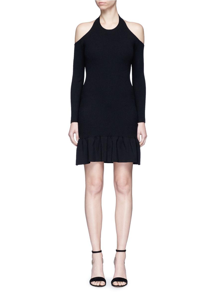 No Return cold shoulder halterneck knit flare dress by C/Meo Collective