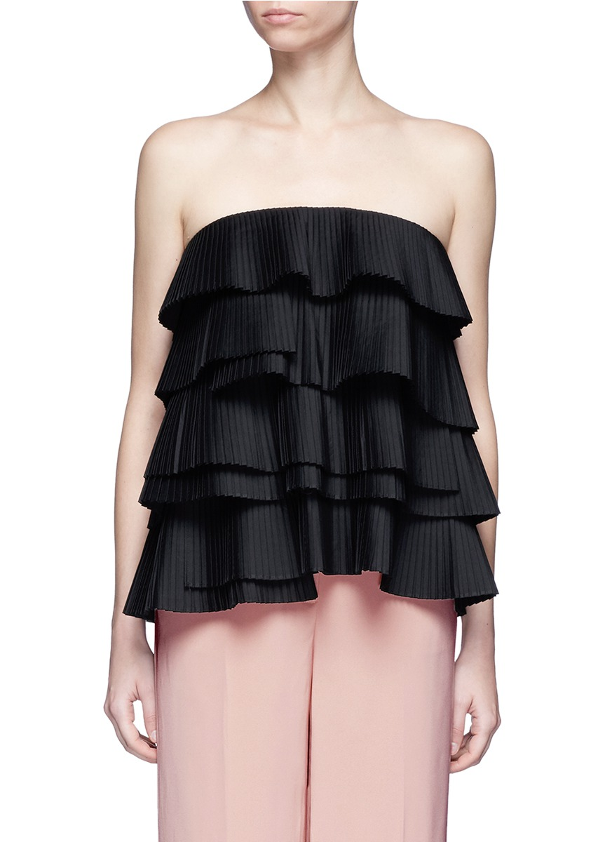 Never Mind strapless tiered pleat bustier top by C/Meo Collective