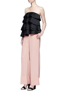 C/Meo Collective  'Never Mind' strapless tiered pleat bustier top