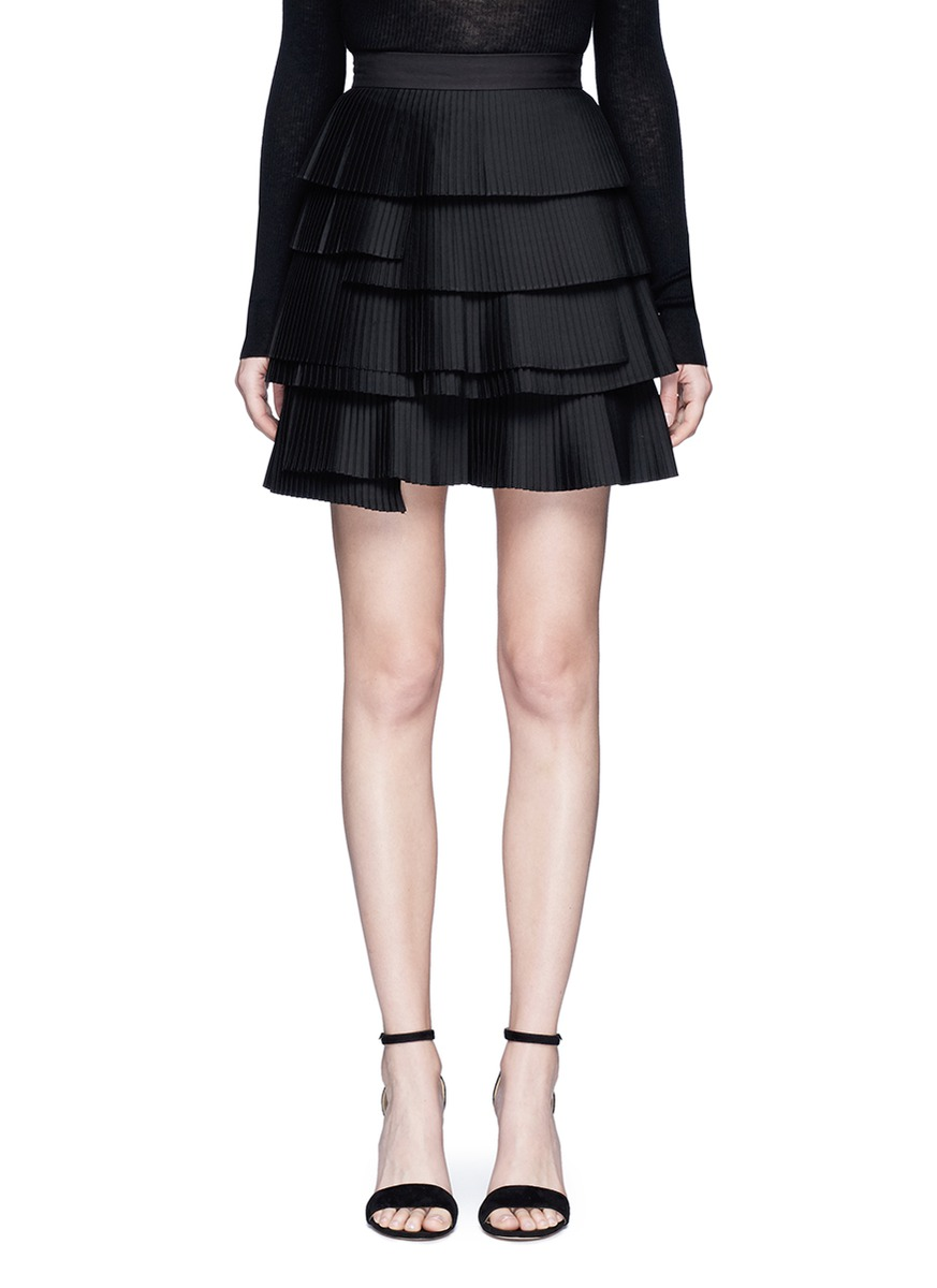 Never Mind tiered pleat mini skirt by C/Meo Collective