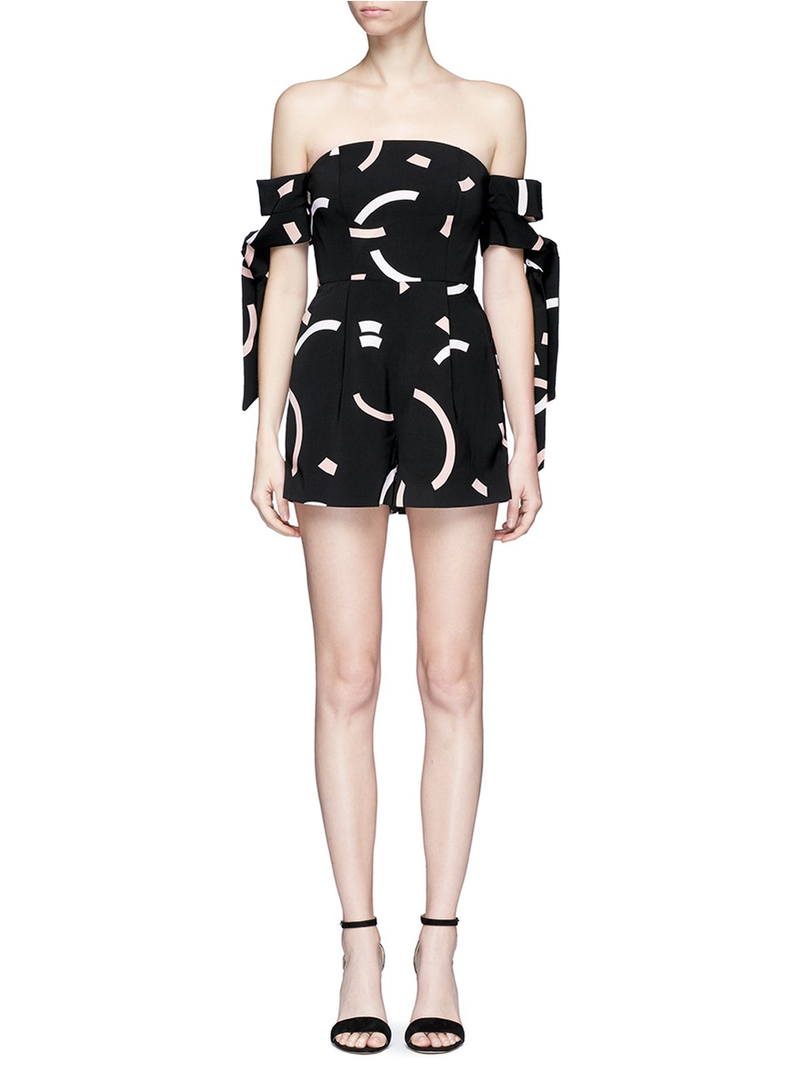 Back To You off shoulder playsuit by C/Meo Collective