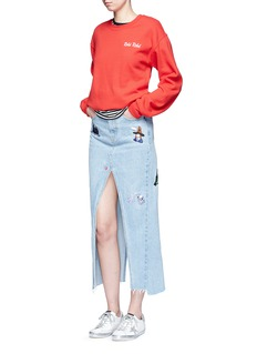 Ground ZeroMovie character embroidered split denim skirt