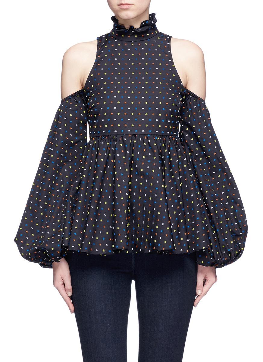 Dot fil coupé cold shoulder top by Caroline Constas
