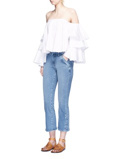 Caroline Constas 'Carmen' ruffle sleeve bustier off-shoulder top