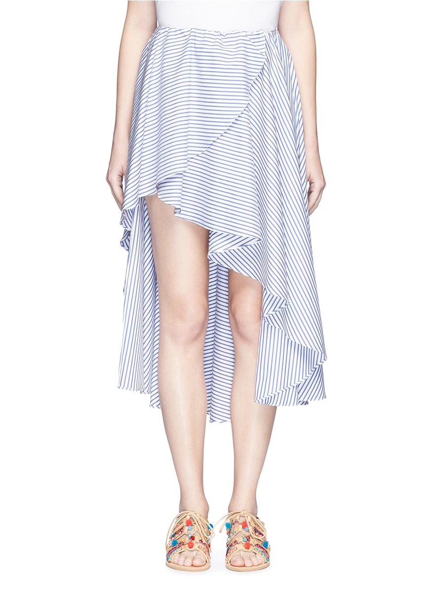 caroline constas female adelle stripe drape front skirt