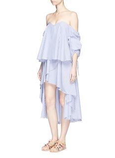 Caroline Constas'Adelle' stripe drape front skirt