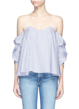Main View - Click To Enlarge - Caroline Constas - 'Gabriella' stripe bustier off-shoulder top