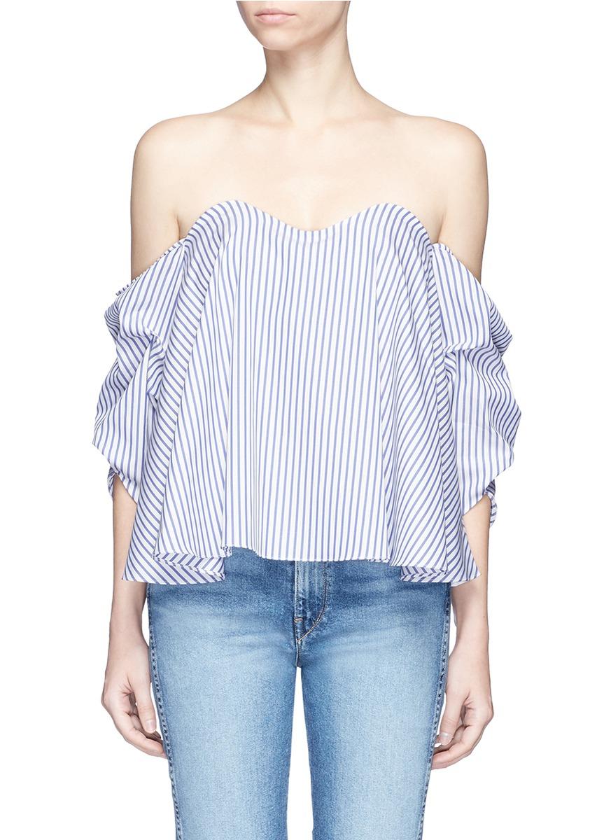 Gabriella stripe bustier off-shoulder top by Caroline Constas