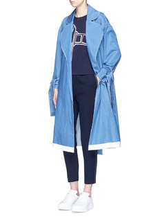 Xiao Li Frayed denim belted trench coat