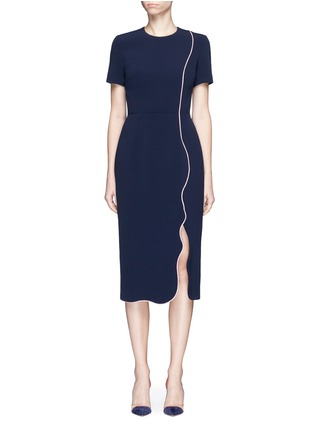 Main View - Click To Enlarge - Roksanda - 'Sabra' wavy trim cady dress
