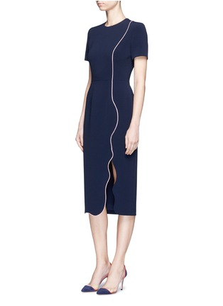 Figure View - Click To Enlarge - Roksanda - 'Sabra' wavy trim cady dress