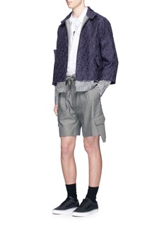 The World Is Your Oyster Tie waist woven stripe shorts
