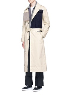 The World Is Your OysterHoundstooth patch colourblock trench coat