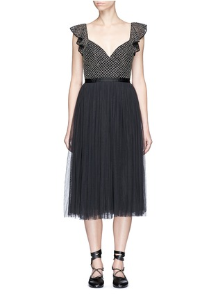 Main View - Click To Enlarge - Needle & Thread - 'Swan' sequin mesh bodice tulle dress