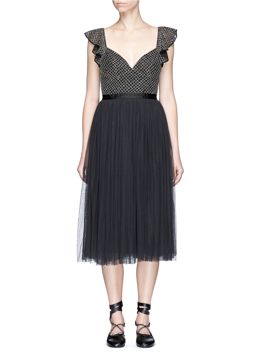 Swan sequin mesh bodice tulle dress by Needle & Thread