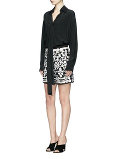 Needle & Thread 'Prairie' sequin floral embroidered shorts