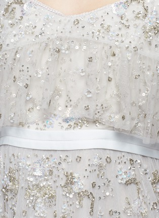 Detail View - Click To Enlarge - Needle & Thread - 'Supernova' floral embellished tiered cold shoulder gown