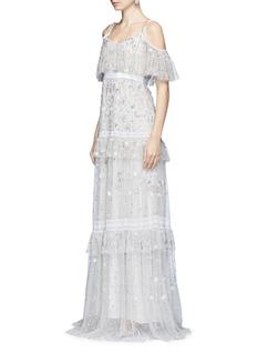 Needle & Thread'Supernova' floral embellished tiered cold shoulder gown
