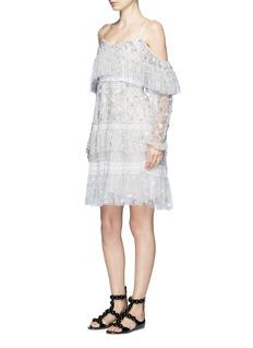 Needle & Thread'Supernova' floral embellished tiered cold shoulder dress