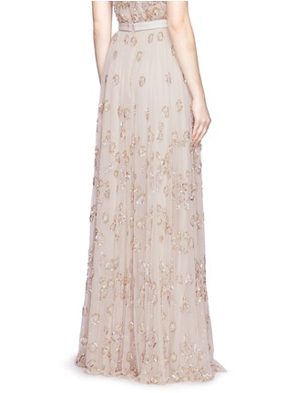 Back View - Click To Enlarge - Needle & Thread - Floral embellished tulle maxi skirt