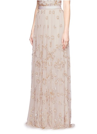 Front View - Click To Enlarge - Needle & Thread - Floral embellished tulle maxi skirt