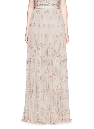 Main View - Click To Enlarge - Needle & Thread - Floral embellished tulle maxi skirt