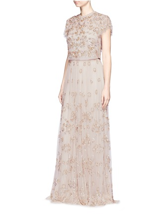 Figure View - Click To Enlarge - Needle & Thread - Floral embellished tulle maxi skirt
