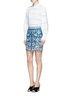 Needle & Thread Floral embroidered denim skirt