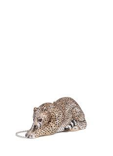 Judith Leiber'Wildcat Chiquita' crystal pavé minaudière