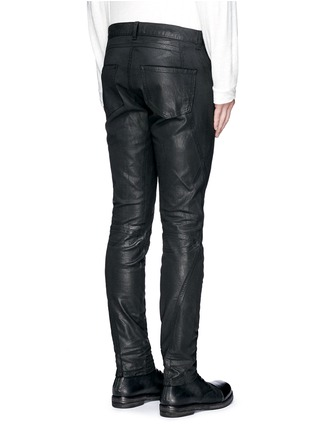 Back View - Click To Enlarge - Faith Connexion - Waxed denim slim fit biker jeans