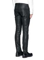 Waxed denim slim fit biker jeans