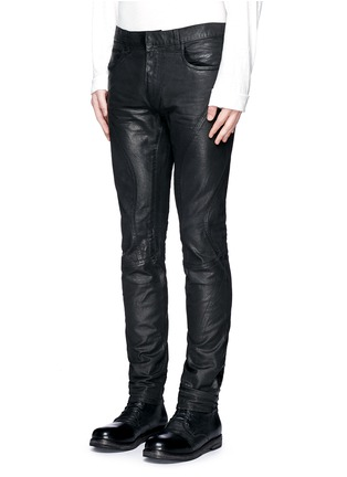 Front View - Click To Enlarge - Faith Connexion - Waxed denim slim fit biker jeans