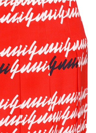 Detail View - Click To Enlarge - Gucci - Cursive logo print silk midi skirt