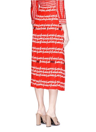 Back View - Click To Enlarge - Gucci - Cursive logo print silk midi skirt