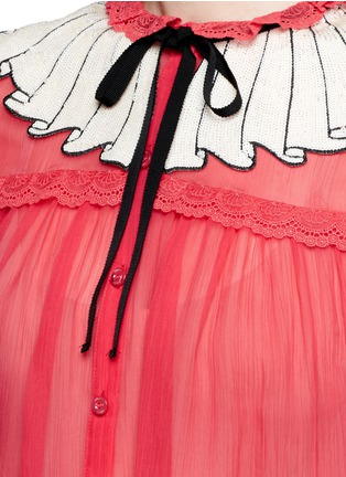 Detail View - Click To Enlarge - Gucci - Sequin ruffle trompe l'oeil chiffon shirt