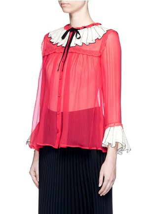 Front View - Click To Enlarge - Gucci - Sequin ruffle trompe l'oeil chiffon shirt