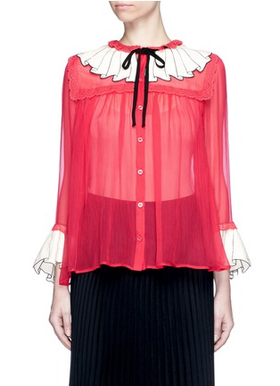 Main View - Click To Enlarge - Gucci - Sequin ruffle trompe l'oeil chiffon shirt