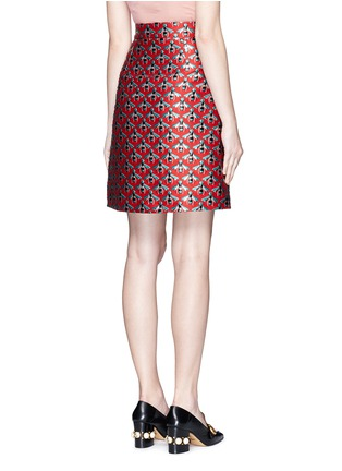 Back View - Click To Enlarge - Gucci - Metallic bee jacquard A-line skirt