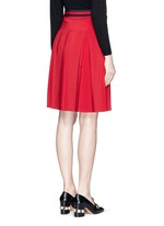 Stripe web waistband inverted pleat silk skirt