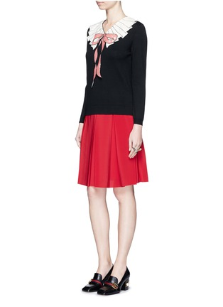 Figure View - Click To Enlarge - Gucci - Stripe web waistband inverted pleat silk skirt