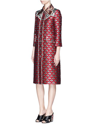 Figure View - Click To Enlarge - Gucci - Metallic bee Western line jacquard coat
